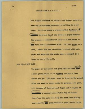 Primary view of object titled '[News Script: Instant lawn]'.