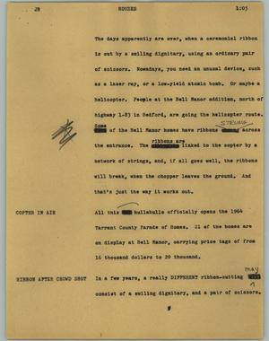 Primary view of object titled '[News Script: Houses]'.