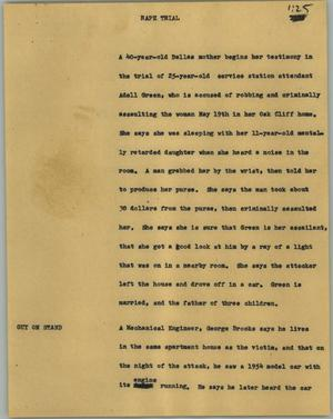 Primary view of object titled '[News Script: Rape trial]'.