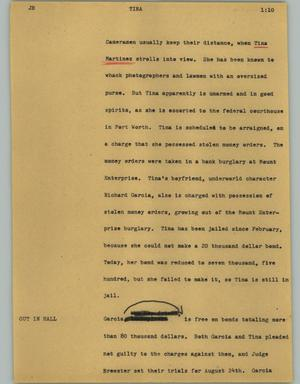Primary view of object titled '[News Script: Tina]'.