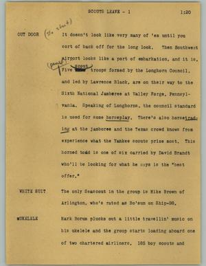Primary view of object titled '[News Script: Scouts leave]'.