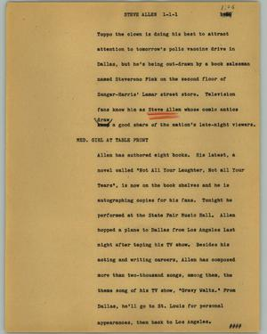 Primary view of object titled '[News Script: Steve Allen]'.