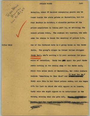 Primary view of object titled '[News Script: Prison rodeo]'.