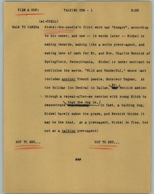Primary view of object titled '[News Script: Talking dog]'.
