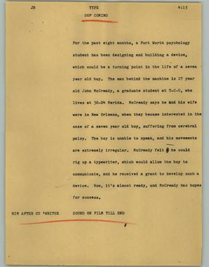 Primary view of object titled '[News Script: Type]'.