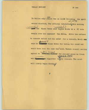 Primary view of object titled '[News Script: Dallas recount]'.