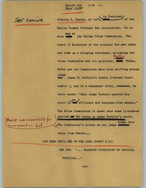 Primary view of object titled '[News Script: Dallas bar]'.