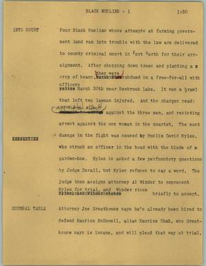 Primary view of object titled '[News Script: Black Muslims]'.