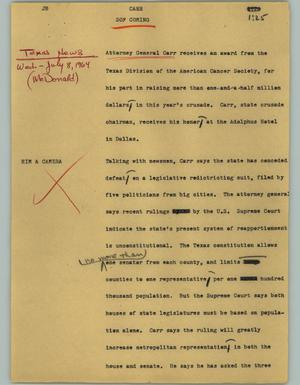 Primary view of object titled '[News Script: Carr]'.