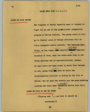 Primary view of object titled '[News Script: Allen News Conf]'.