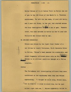 Primary view of object titled '[News Script: Pedestrian]'.