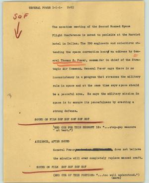 Primary view of object titled '[News Script: General power]'.