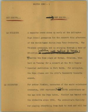 Primary view of object titled '[News Script: Boston pops]'.