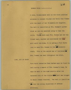 Primary view of object titled '[News Script: Bowman Trial]'.