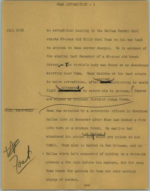 Primary view of object titled '[News Script: Roan extradition]'.