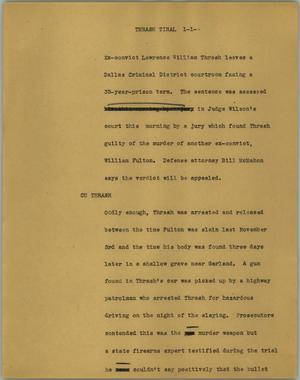 Primary view of object titled '[News Script: Thrash trial]'.
