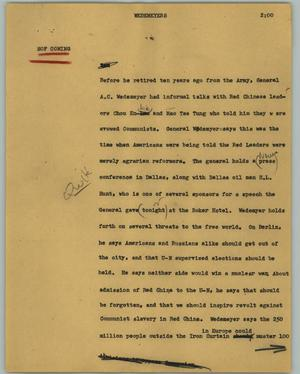 Primary view of object titled '[News Script: Wedemeyers]'.