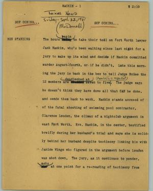 Primary view of object titled '[News Script: Mackin]'.