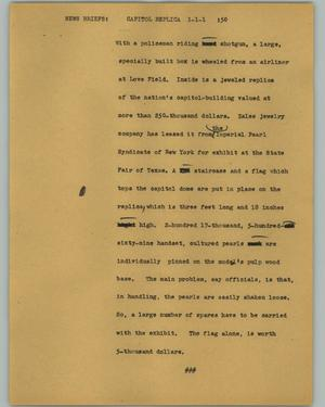 Primary view of object titled '[News Script: Capitol replica]'.