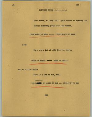 Primary view of object titled '[News Script: Swimming pools]'.