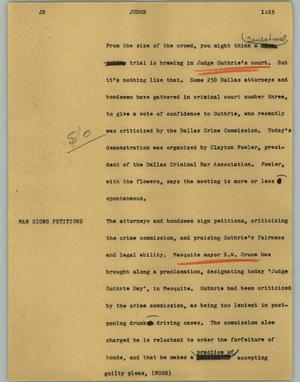 Primary view of object titled '[News Script: Judge]'.
