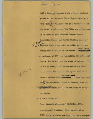 Primary view of object titled '[News Script: Signs]'.