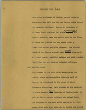 Primary view of object titled '[News Script: Retarded home]'.