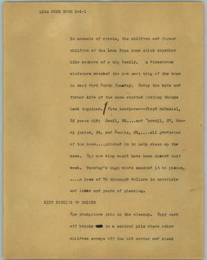 Primary view of object titled '[News Script: Lena Pope home]'.