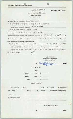 Primary view of object titled '[Subpoena: the State of Texas v. Richard Craig Schwiderski]'.