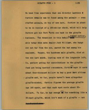 Primary view of object titled '[News Script: Giraffe fund]'.
