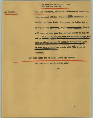 Primary view of object titled '[News Script: US Asst Sec of State]'.