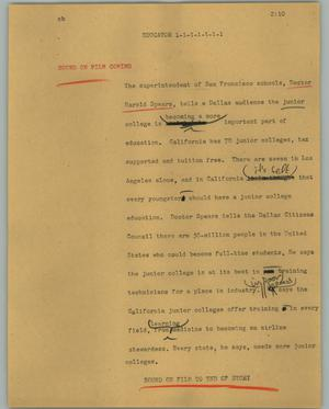 Primary view of object titled '[News Script: Educator]'.