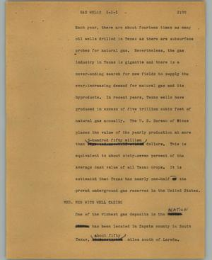 Primary view of object titled '[News Script: Gas wells]'.