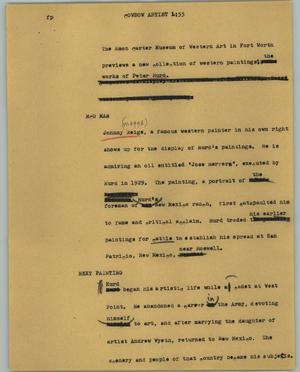 Primary view of object titled '[News Script: Cowbow artist]'.