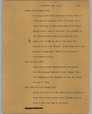 Primary view of object titled '[News Script: Hutchins fire]'.
