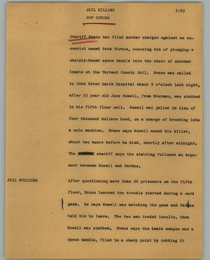 Primary view of object titled '[News Script: Jail killing]'.