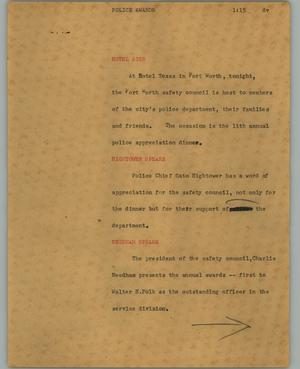 Primary view of object titled '[News Script: Police awards]'.