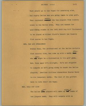 Primary view of object titled '[News Script: Golfers]'.