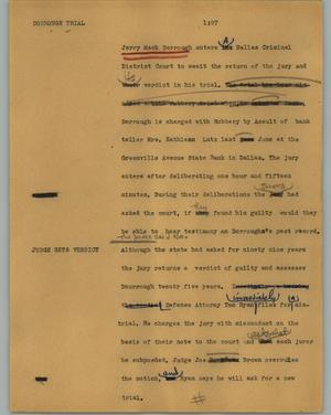 Primary view of object titled '[News Script: Dorrough trial]'.