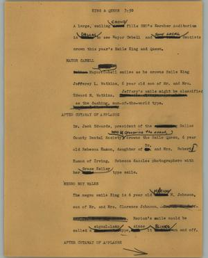 Primary view of object titled '[News Script: King & queen]'.