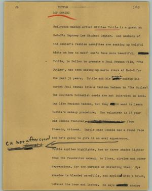 Primary view of object titled '[News Script: Tuttle]'.