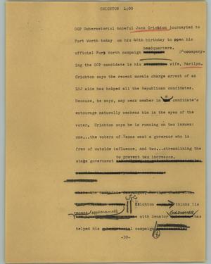 Primary view of [News Script: Crichton]