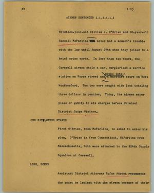 Primary view of object titled '[News Script: Airmen sentenced]'.