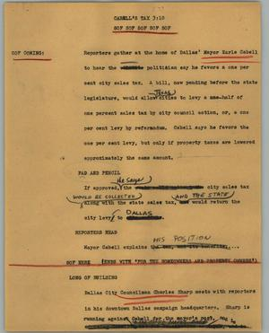 Primary view of object titled '[News Script: Cabell's tax]'.