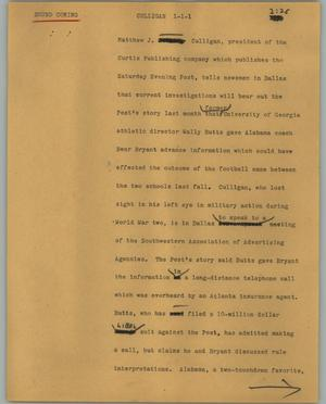 Primary view of object titled '[News Script: Culligan]'.