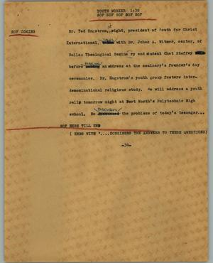 Primary view of object titled '[News Script: Youth worker]'.