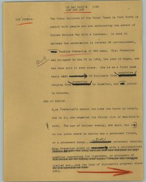 Primary view of object titled '[News Script: UN Day doin's]'.