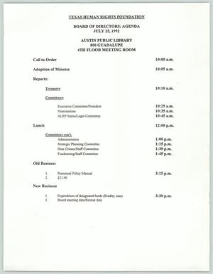 Primary view of object titled '[Texas Human Rights Foundation board of directors meeting agenda for July 1992]'.