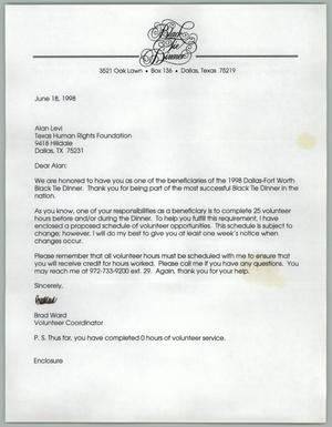 Primary view of object titled '[Letter to Alan Levi from Brad Ward concerning 1998 Black Tie dinner responsibilities]'.