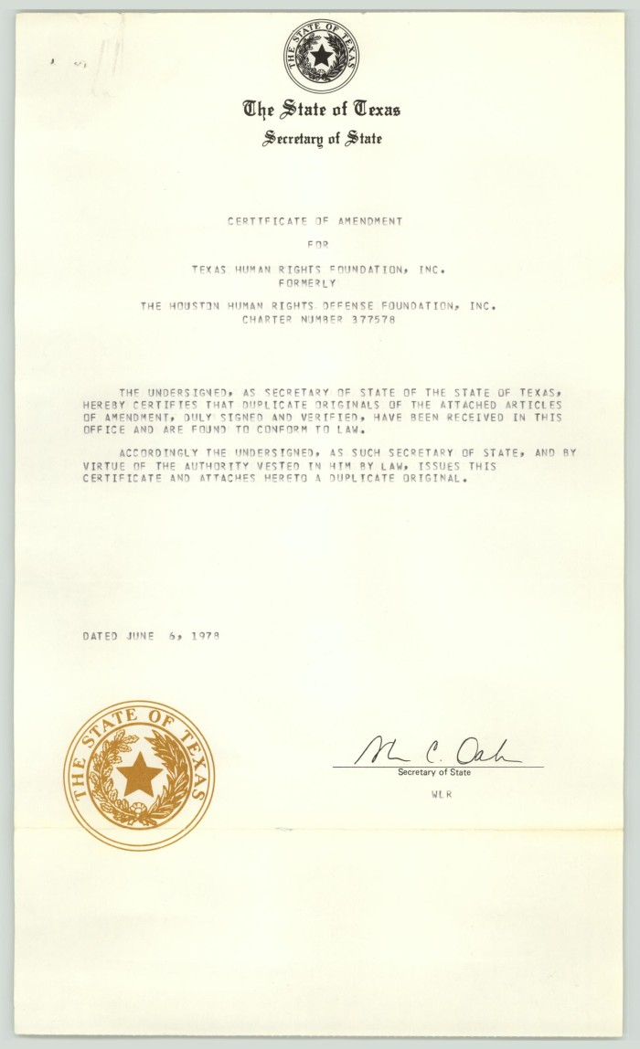 Certificate of amendment for the Texas Human Rights Foundation ...